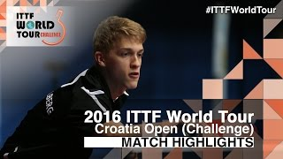 【Video】KALLBERG Anton VS KOJIC Frane, vòng 64 2016 Zagreb  mở rộng