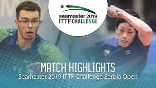 【Video】YUMA Tsuboi VS DE NODREST Leo,  2019 ITTF Thử thách Serbia mở
